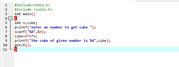 Write a Program To Input A Number And Display Its Cube In C ( i.e if we input 3 it gives 9)